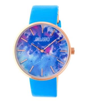 Unisex Swirl Powdered Blue Leatherette Strap Watch 42mm