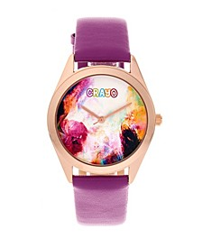 Unisex Graffiti Purple Genuine Leather Strap Watch 35mm