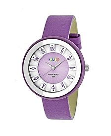 Unisex Celebration Lavender Genuine Leather Strap Watch 38mm