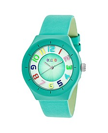 Unisex Atomic Turquoise Genuine Leather Strap Watch 36mm