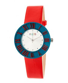 Unisex Prestige Red Polyurethane Strap Watch 37mm