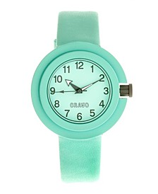 Unisex Equinox Mint Leatherette Strap Watch 40mm