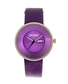 Unisex Button Purple Genuine Leather Strap Watch 40mm