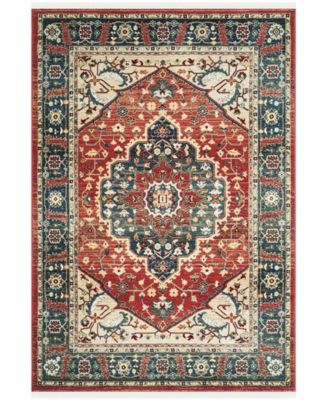 """Chloe LRL1221A Red and Navy 5'1"""" X 7'6"""" Area Rug"""