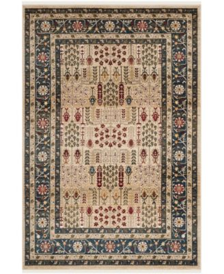 Margaux LRL1297D Beige and Navy 8' X 10' Area Rug