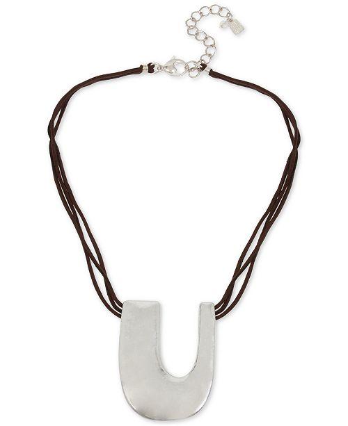"Robert Lee Morris Soho Silver-Tone Sculptural U Leather Pendant Necklace, 18"" + 3"" extender"