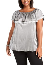 Michael Michael Kors Plus Size Metallic Ruffle Top