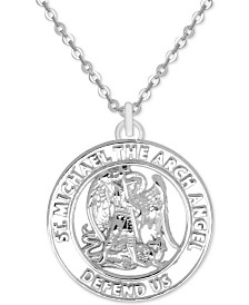 """Symbols of Strength St. Michael the Arch Angel 18"""" Pendant Necklace in Fine Silver-Plate"""