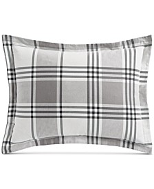 Ticking Plaid Flannel Standard Sham, Created for Macy's
