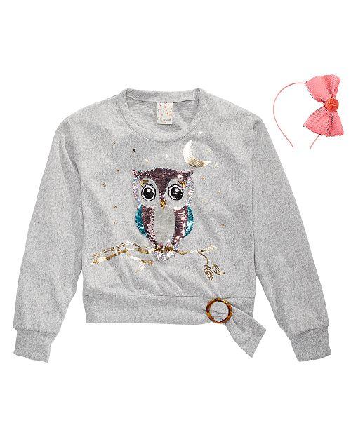 Belle Du Jour Big Girls 2-Pc. Sequin Owl Top & Headband Set