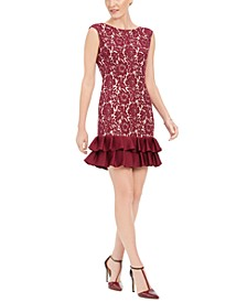 Ruffle-Hem Lace Sheath Dress