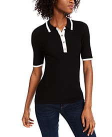 Ribbed Contrast Polo Sweater, Created for Macy's