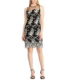 Lauren Ralph Lauren Floral-Embroidery Mesh-Yoke Lace Cocktail Dess