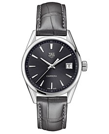 LIMITED EDITION Swiss Carrera Gray Alligator Leather Strap Watch 36mm, Created for Macy's