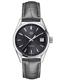 LIMITED EDITION TAG Heuer Swiss Carrera Gray Alligator Leather Strap Watch 36mm, Created for Macy's