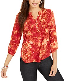 Petite Pleated Floral Blouse
