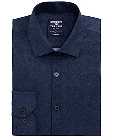 Men's Slim-Fit Non-Iron Performance Stretch Navy Paisley Dress Shirt