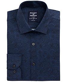 Society of Threads Men's Slim-Fit Non-Iron Performance Stretch Navy Paisley Dress Shirt