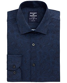 Society of Threads Men's Slim-Fit Non-Iron Performance Stretch Navy Paisley Dress Shirt