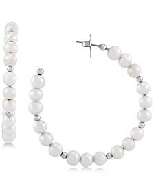 Cultured Freshwater Pearl (6mm) & Bead Hoop Earrings in Sterling Silver