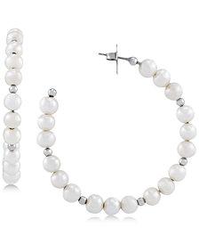 Honora Cultured Freshwater Pearl (6mm) & Bead Hoop Earrings in Sterling Silver