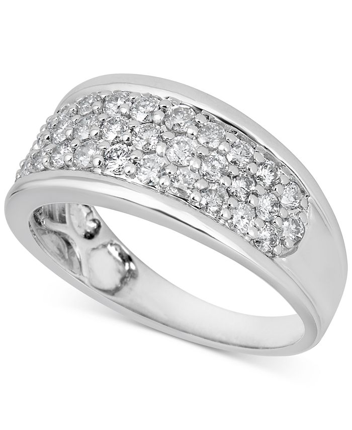 Macy's - Diamond Cluster Band (1 ct. t.w.) in 14k White Gold