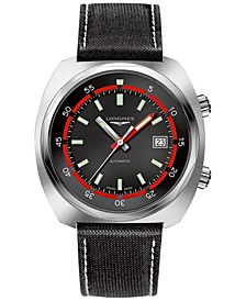 LIMITED EDITION Swiss Automatic Heritage Diver Black Leather Strap Watch 43mm, Created for Macy's