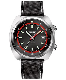 LIMITED EDITION Longines Swiss Automatic Heritage Diver Black Leather Strap Watch 43mm, Created for Macy's