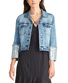 RACHEL Rachel Roy Metallic-Cuff Denim Jacket