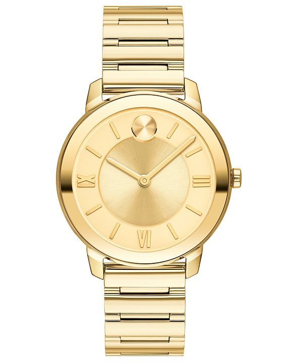 Movado Women's Swiss Bold Gold Ion-Plated Stainless Steel Bracelet Watch 32mm
