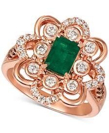 Le Vian® Costa Smeralda Emerald (5/8 ct. t.w.) & Diamond (5/8 ct. t.w.) Ring in 14k Rose Gold