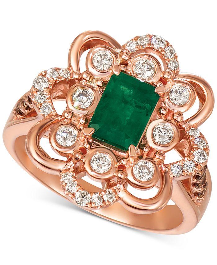 Le Vian - Costa Smeralda Emerald (5/8 ct. t.w.) & Diamond (5/8 ct. t.w.) Ring in 14k Rose Gold