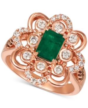 Costa Smeralda Emerald (5/8 ct. t.w.) & Diamond (5/8 ct. t.w.) Ring in 14k Rose Gold