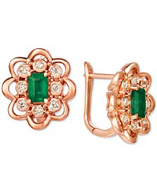 Le Vian® Costa Smeralda Emerald (5/8 ct. t.w.) and Nude Diamond (1/3 ct. t.w.) Stud Earrings set in 14k Rose Gold
