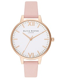 Women's Dusty Pink Leather Strap Watch 34mm