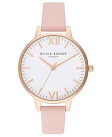 Women's Dusty Pink Leather Strap Watch 34mm