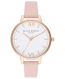Olivia Burton Women's Dusty Pink Leather Strap Watch 34mm