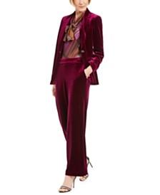 Nine West Velvet Jacket, Plaid Tie-Neck Blouse, & Pull-On Velvet Pants