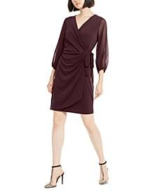 INC Balloon-Sleeve Wrap Dress, Created for Macy's