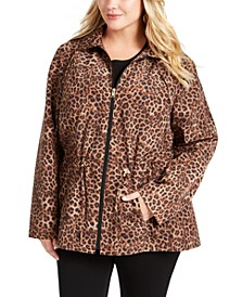 Plus Size Animal Print Anorak Jacket, Created For Macy's