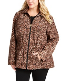 Charter Club Plus Size Animal Print Jacket, Created For Macy's