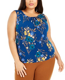 Calvin Klein Plus Size Floral Printed Pleated Top