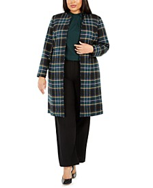 Plus Size Plaid Open-Front Topper, Pleated Mock-Neck Top & Highline Pants