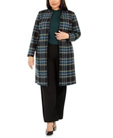 Calvin Klein Plus Size Plaid Open-Front Topper, Pleated Mock-Neck Top & Highline Pants