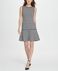 Houndstooth Flounce A-Line Dress