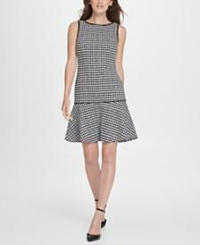 DKNY Houndstooth Flounce A-Line Dress