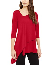 Petite Asymmetrical Envelope-Hem Top, Created For Macy's