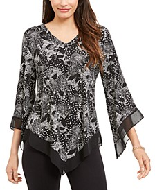 Printed Pointed-Hem Top, Created for Macy's