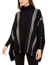 Metallic Striped Poncho, Created For Macy's