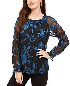 Velvet Burnout Sheer-Sleeve Top, Created for Macy's